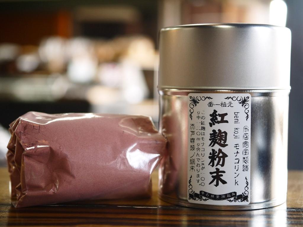 紅麹粉末 08(ゼロハチ)モナコリンK(100gブリキ缶 スプーン2種付)