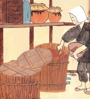 昔は2つの味噌樽に味噌を仕込み、それを交互に食べていました。