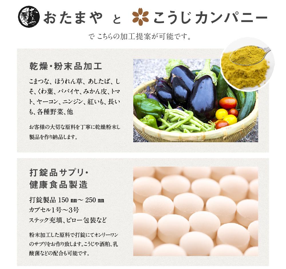 乾燥・粉末品加工 打錠品サプリ・健康食品製造