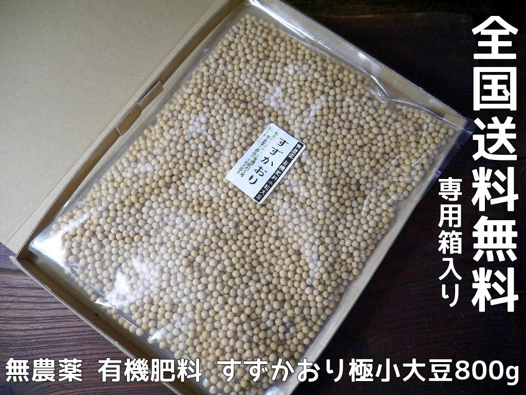 無農薬 有機肥料 すずかおり 極小大豆(800g)送料無料