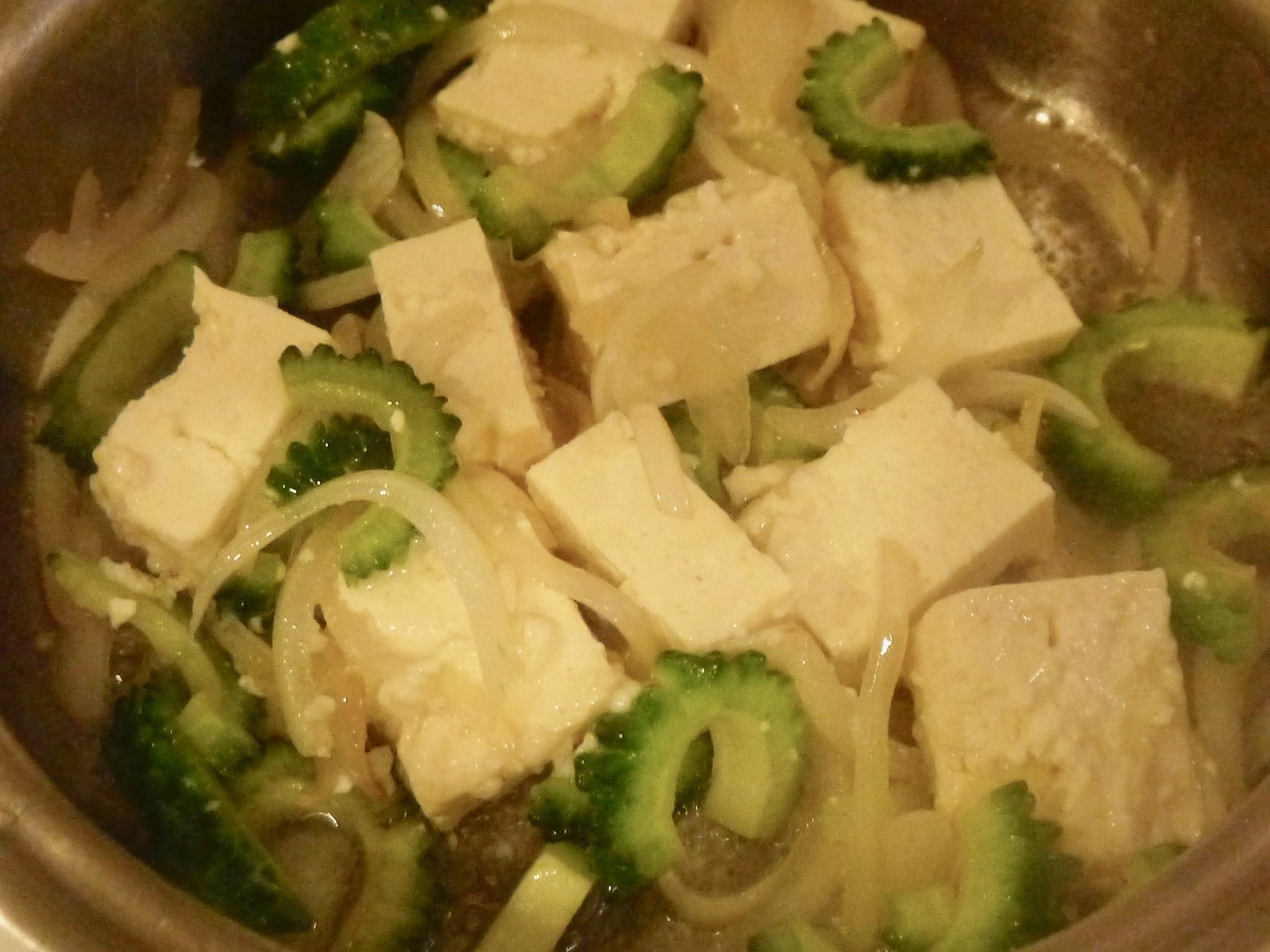 塩麹豆腐のゴーヤチャンプル風